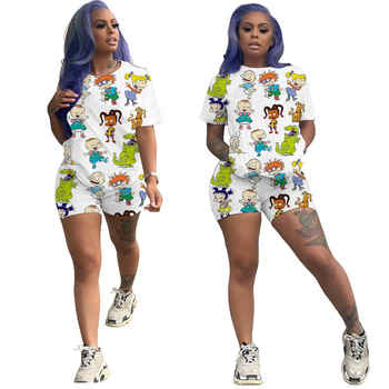Casual Two Piece Set Women TShirt Biker Shorts Set Cartoon Print Plus Size Summer Clothes For Women Outfits Jogging Femme