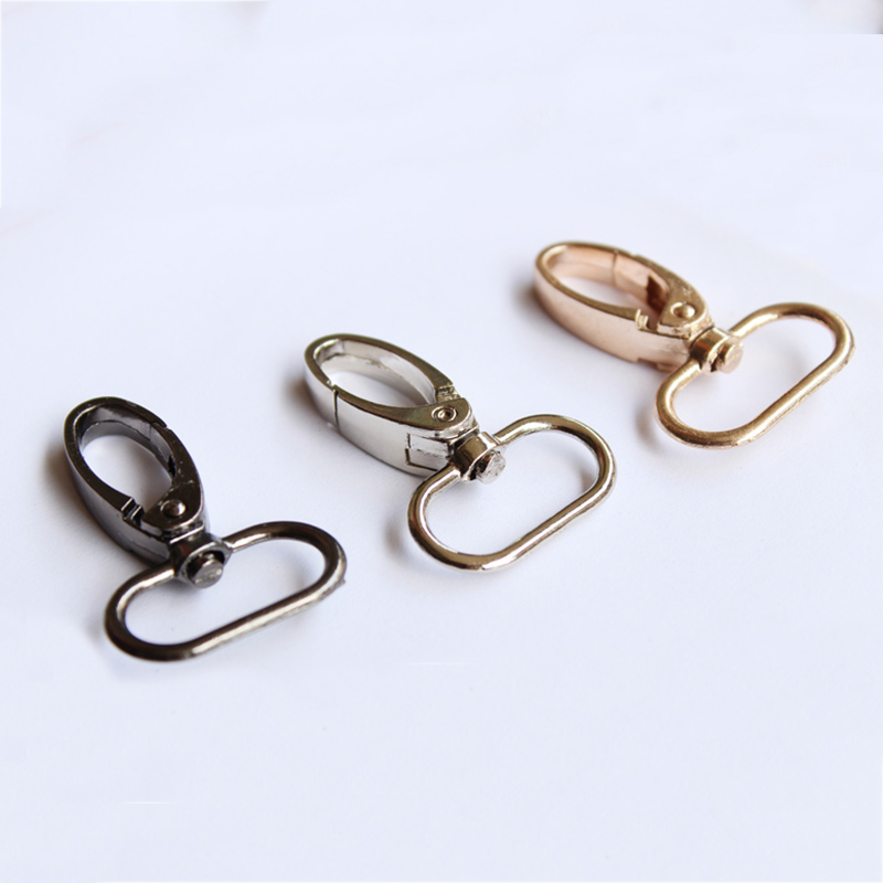 2PC Metal Snap Hook Swivel Eye Trigger Clip Clasp For Leather Craft Bag Strap Belt Hot Durable Black Gold Silver Bag Accessories