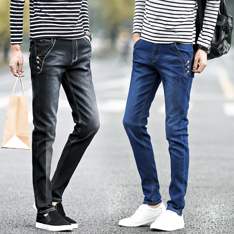MEN'S Jeans Men's 2018 Autumn And Winter Cowboy Trousers Youth Casual Pants Slim Women's Jeans Men's Skinny Pants