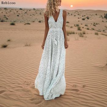 Sexy Polka Dot Sleeveless Bohemian Beach Dresses White Cascading Ruffle Maxi Runway Dress Celebrity Evening Party Spring Vestido