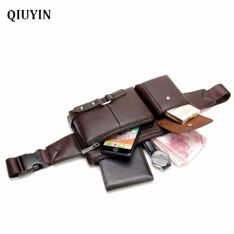Qiuyin Korean Premium Brand Bag Men's/male/Murse Waist Bag Leather Purse Chest Belt Bum Bag Sport Pack Zip Pouch Travel Purse