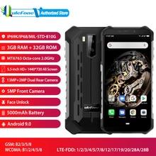 """Ulefone armadura x5 ip68 à prova dip68 água versão global android 9.0 5.5 """"hd + octa núcleo ram 3gb rom 32gb nfc face id sim duplo smartphone"""