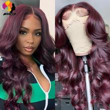 99J Burgundy Lace Front Human Hair Wigs Pre-Plucked Malaysian Body Wave Wig 150% Density Remy Hair Red Lace Front Wig Remyblue