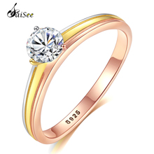SaiSee Shiny 925 Sterling Silver Double Color Wedding Rings For Women Pave Clear AAA CZ Zircon Engagement Ring Size 6 7 8 9 Gift blucome luxury aaa zircon copper ring clear cz micro pave gold color rings for women flower big long section finger ring wedding