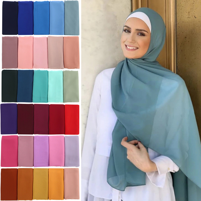 Muslim Bubble Chiffon Hijab Scarf Women Solid Color Soft Long Shawls and Wraps Georgette Islamic Head Scarves Ladies Hijabs