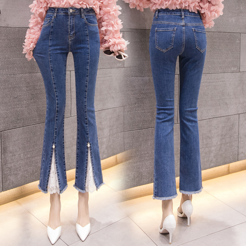 Photo Shoot 2019 New Style Korean-style Fashion Blue Jeans Women's Beads Capri Micro Bell-bottom Pants Slim Fit Elasticity