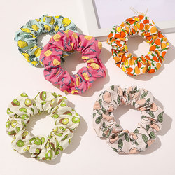 Avocado Peach Hair Scrunchies Women Scrunchie Elastic Hair Bands Girls Headwear Rubber Hair Ties Transparent Ponytail Holder Hot