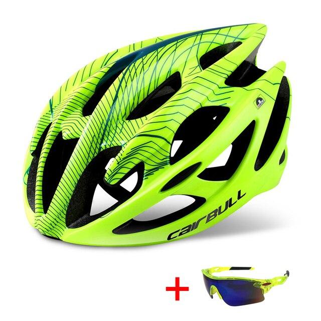 Capacete profissional de bicicleta de estrada e de montanha, capacete com óculos ultraleve dh mtb all-terrain esportes equitação ciclismo 1