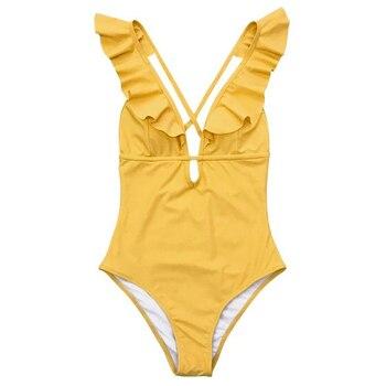 abolin  Falbala One-piece Swimsuit Women Ruffle V-neck Monokini 2020 New Girls Beach Bathing Suit Swimwear women floral v neck ruffle bikini set high waisted two piece swimsuit summer girls beach bathing suits swimwear