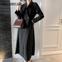 Fashion Slim Over Knee length Black Gothic Women Chic Trench Coat A Line Double Breasted Long Sleeve Lapel Casual Winbreaker