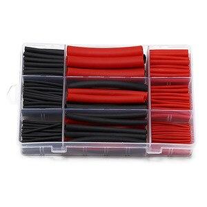 270 шт. 3: 1 термоусадочная трубка с двойными стенками, термоусадочная трубка, 6 размеров, 2 цвета, комплект, черный, красный