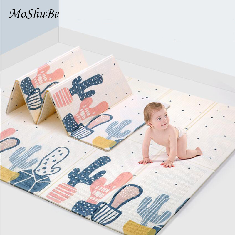 1CM Thick Baby Crawling Mat Cactus Kids Rug Climbing Home Living Room Children's Carpet Folding Mat XPE Toys Durable Playmat