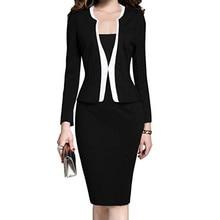 Office Dress For Women Elegant Knee Length Ladies Pencil Dresses Work Business Long Sleeve 2019 Autumn Winter Frock One-Piece Female Plus Size XXXL 4XL 5XL