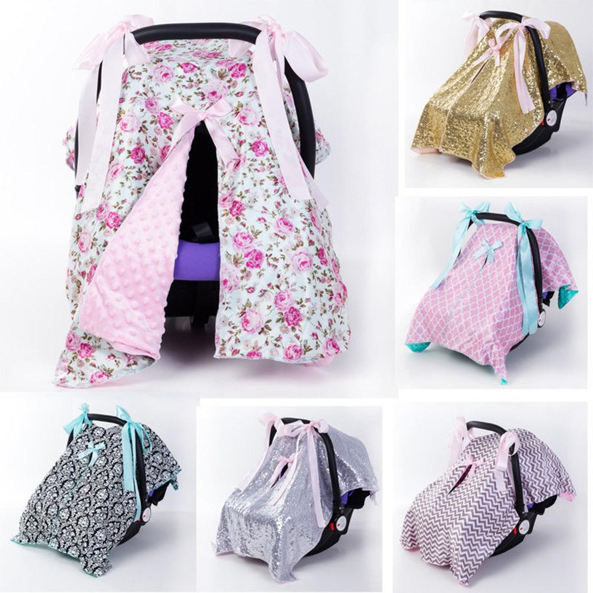 NEW Baby Car Seat Blanket Cover Fashion Bow Newborn Baby Girls Soft Safety Car Seat Canopy Nursing Cover Multi-use Blanket Cover