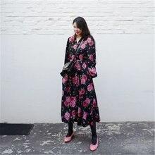 Rugod ins корейский стиль осеннее платье с цветочным принтом