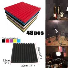 48/Pack Acoustic-Foam Sound-Absorption-Panels Soundproof Board Wedge Tiles Room-Studio