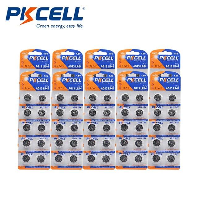 100 шт. PKCELL LR44 AG13 1,5 V 357A A76 303 SR44SW SP76 L1154 RW82 RW42 термометр Батарея Кнопка ячейки щелочные батареи