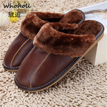 Whoholl Women Slippers Indoor Leather Winter Waterproof Warm Home Fur Slipper Male Couple Platform Shoes Fluffy Big Sizes