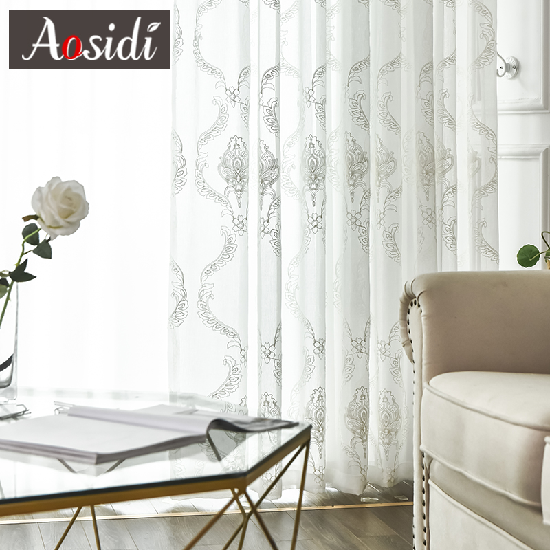 AOSIDI European Embroidered White Tulle Curtains For Modern Living Room Window Voile Curtains For Bedroom White Drapes Finished