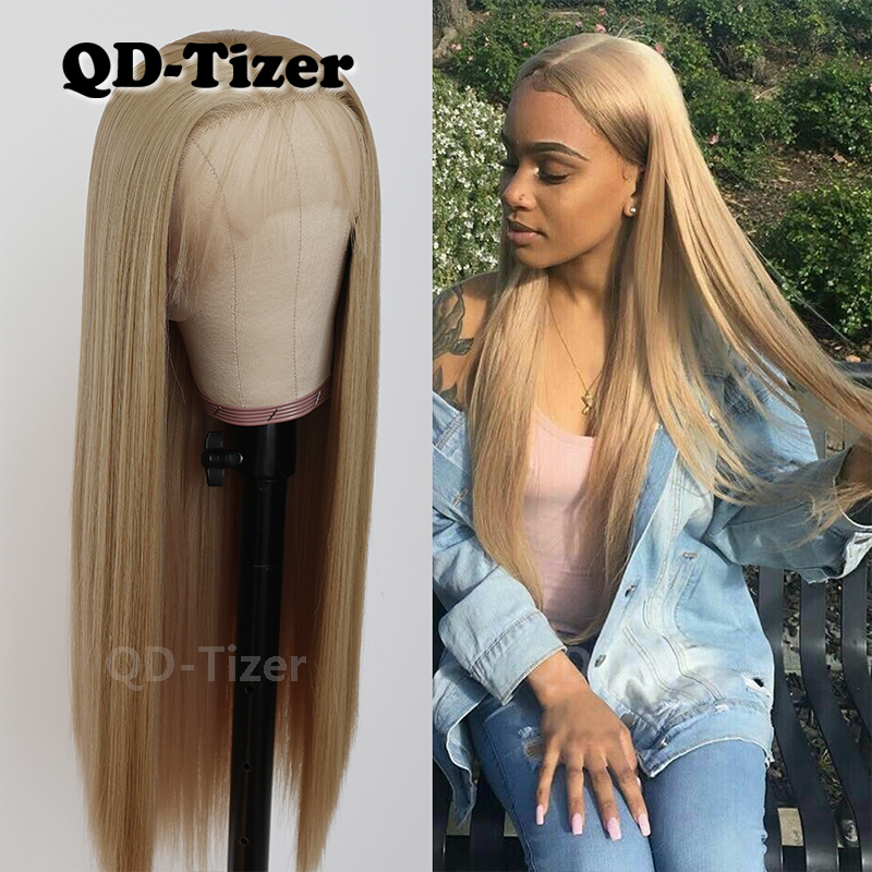 QD-Tizer Glueless Synthetic Lace Front Wigs With BabyHair Heat Resistant Glueless Long Straight Blonde Wig