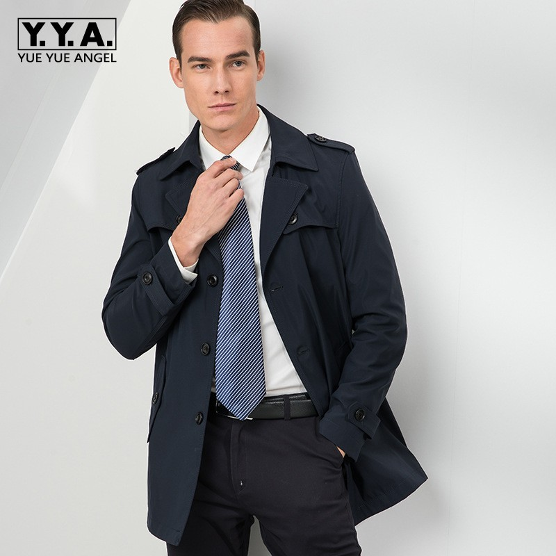 Spring Autumn New Brand Long Sleeve Single Breasted Lapel Men Solid Coats Medium Length Loose Casual Windproof Male Trench Coats