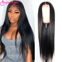 Straight Hair 13x4 Pre Plucked Lace Frontal Wigs ANGIE QUEEN Natural Color Peruvian Human Hair Remy Hair 4x4 Lace Closure Wigs