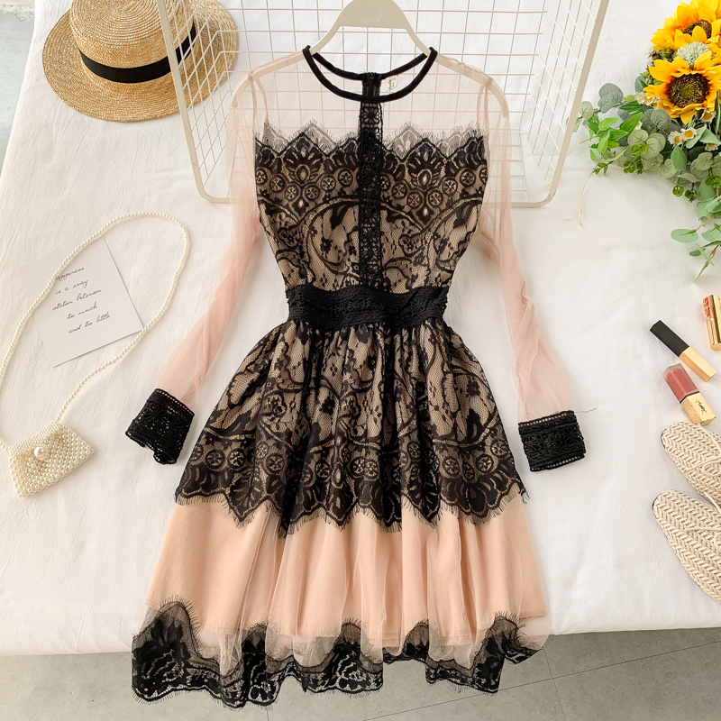 Eyelash Lace Perspective Screen Yarn Round Neck Long Sleeve Slim Pompon Black Lace Dresses Woman Party Night|Dresses| - AliExpress