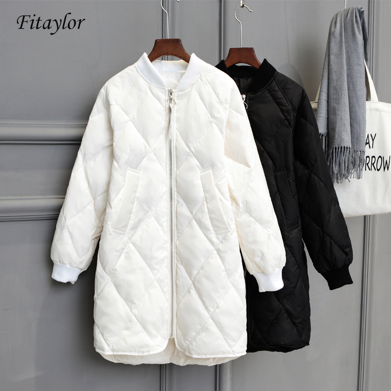 Fitaylor New Winter Long Womens   Down   Jackets Ultra Light White Duck   Down     Coat   Oversize White Puffer Jacket Slim Autumn Parkas