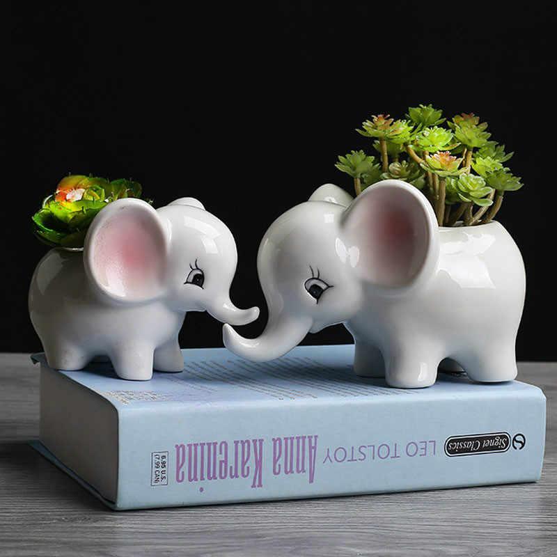 1pc 漫画象花ポット多肉植物植木鉢セラミック盆栽ポット庭の花のプランターポットホームオフィスの装飾