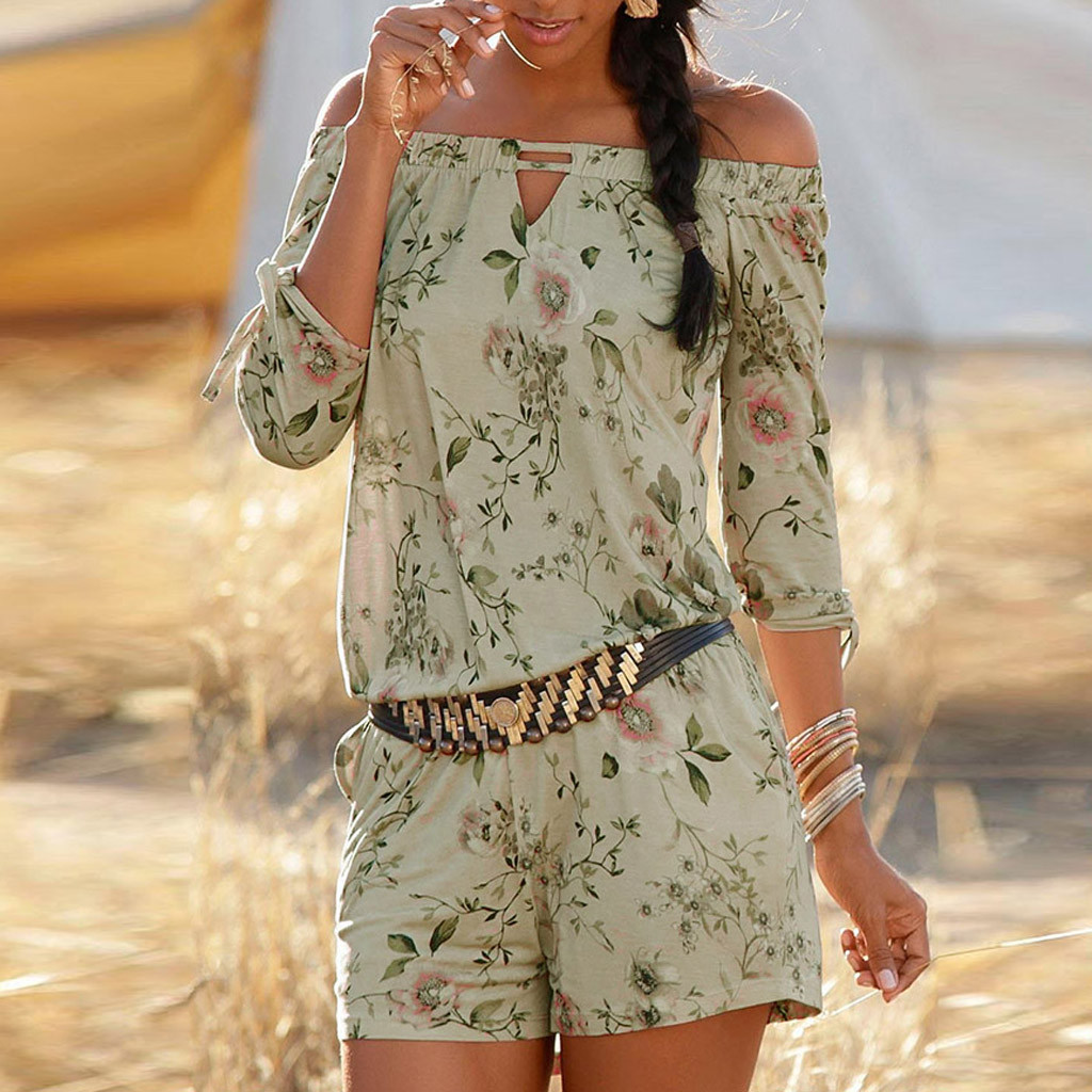 Women Holiday Playsuit Romper Floral Jumpsuit Summer Beach Shorts Casual Holiday