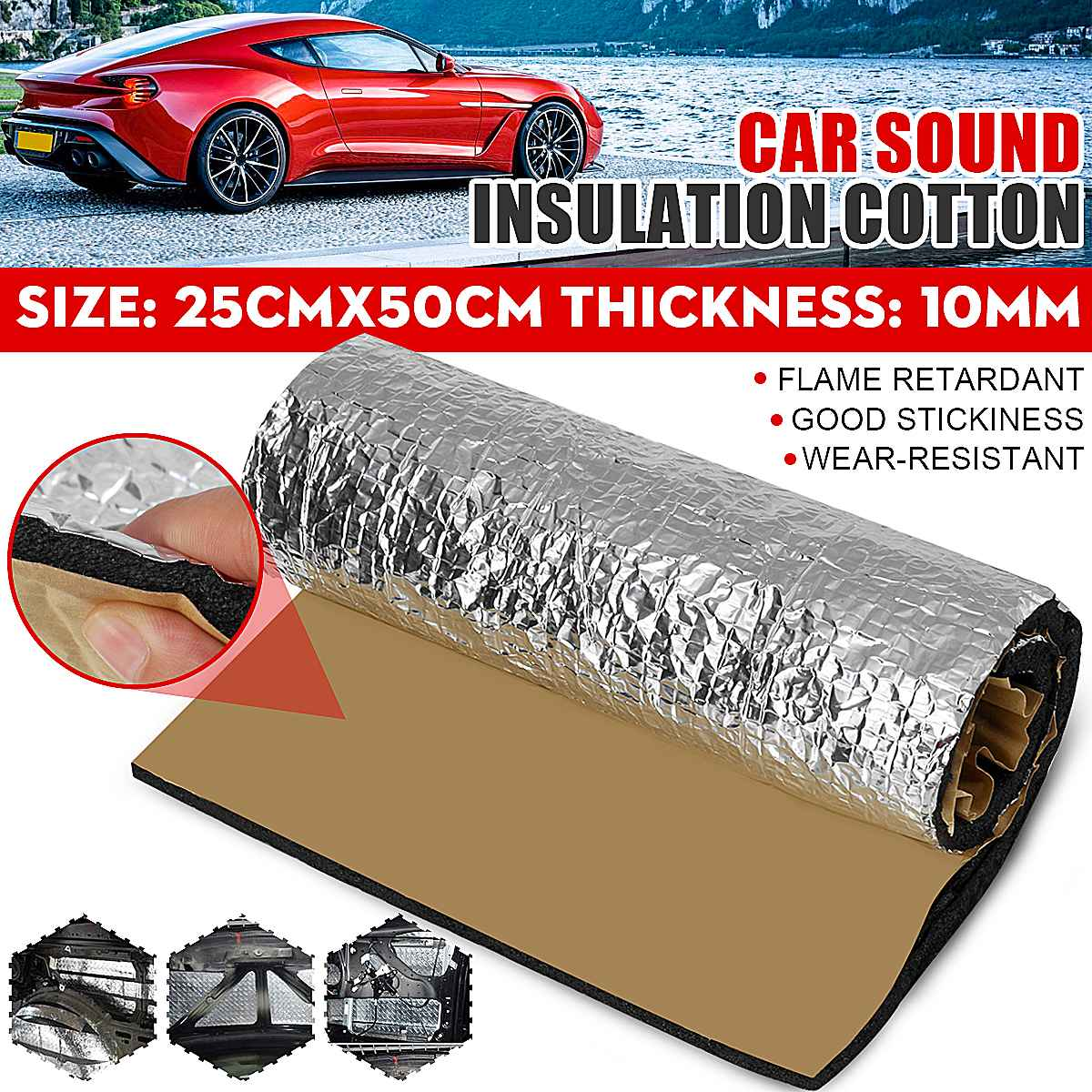 25x50cm Car Sound Deadener Cotton Soundproofing Mat Noise Insulation Shield 10mm Aluminum Foam
