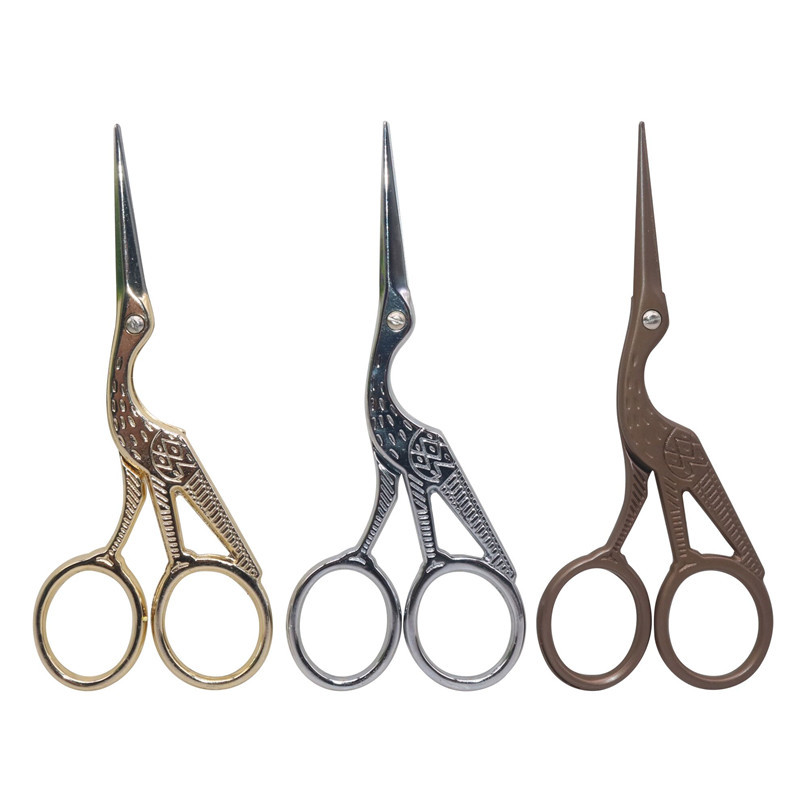 Stationery Scissors Durable Stainless Steel Vintage Classic Embroidery Scissors Nail Art Stork Crane Bird Scissors Cutters