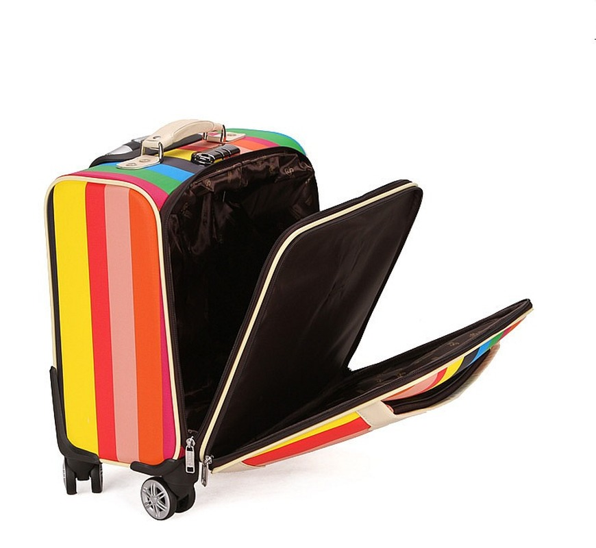 Letrend 3D Красочные вертушки для багажа, женские чемоданы розового золота, колесики, каюта, тележка, дорожная сумка, 20/24 дюймов, переноска на баг... - 4