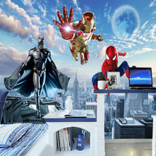 Milofi Custom 3D Foto Carta da Parati 3d Murale Avengers Camera Dei Bambini Camera da Letto Del Ragazzo Sfondo Carta da Parati Superman Spiderman Carta da Parati(China)