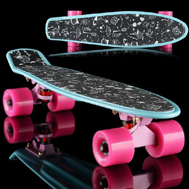 Skateboard Sticker Professional Solid/Printed Sandpaper For Penny Board Anti-slip Rocker Print Patter Waterproof Adhesive Single