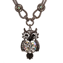 Bohe Bohemian Exaggerated Colorful Clear Crystal Owl Pendant Necklace For Women Retro Vintage Costume Necklaces Jewelry