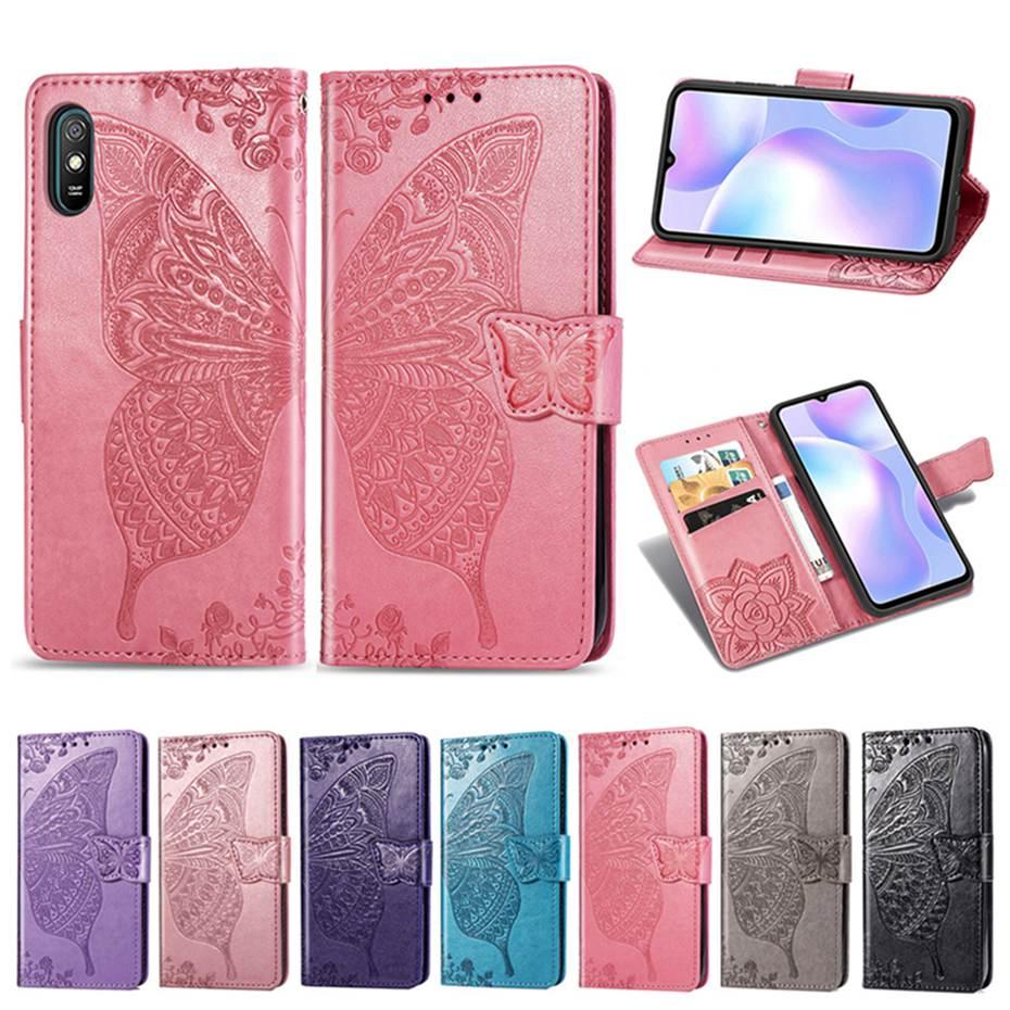 Redmi 9A Flip Case For Xiaomi Redmi 9A PU Leather Wallet Cover 3D Butterfly Emboss Phone Case For Xiaomi Redmi 9A Case Cover