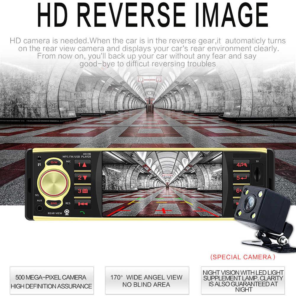 1DIN 車の Fm ラジオ MP5 プレーヤー 4 インチ画面ステアリングリモコンサポート Bluetooth USB TF カード AUX 逆転カメラ