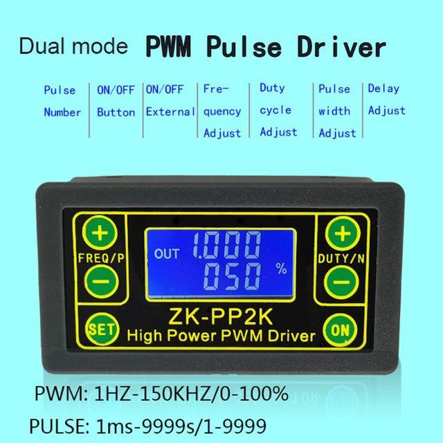 ZK PP2K PWM DC سرعة المحرك تحكم التردد واجب دورة منظم قابل للتعديل التبديل LED باهتة الرقمية نبض سائق 2 طرق