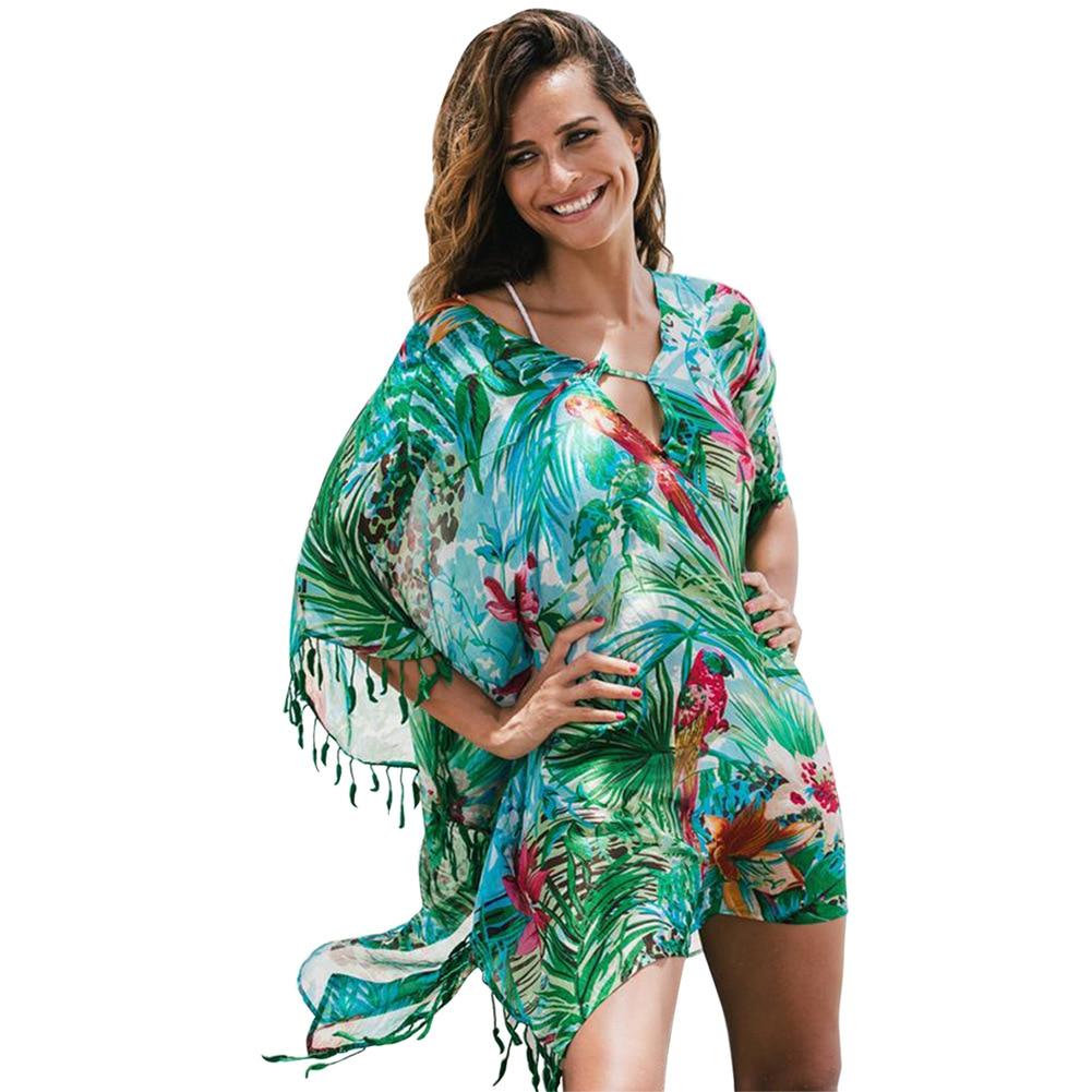 Europe And America Seaside Holiday Bikini Cover-up New Style V-neck Bat Sleeve Printed Tassels Loose-Fit Beach Skirt 420125