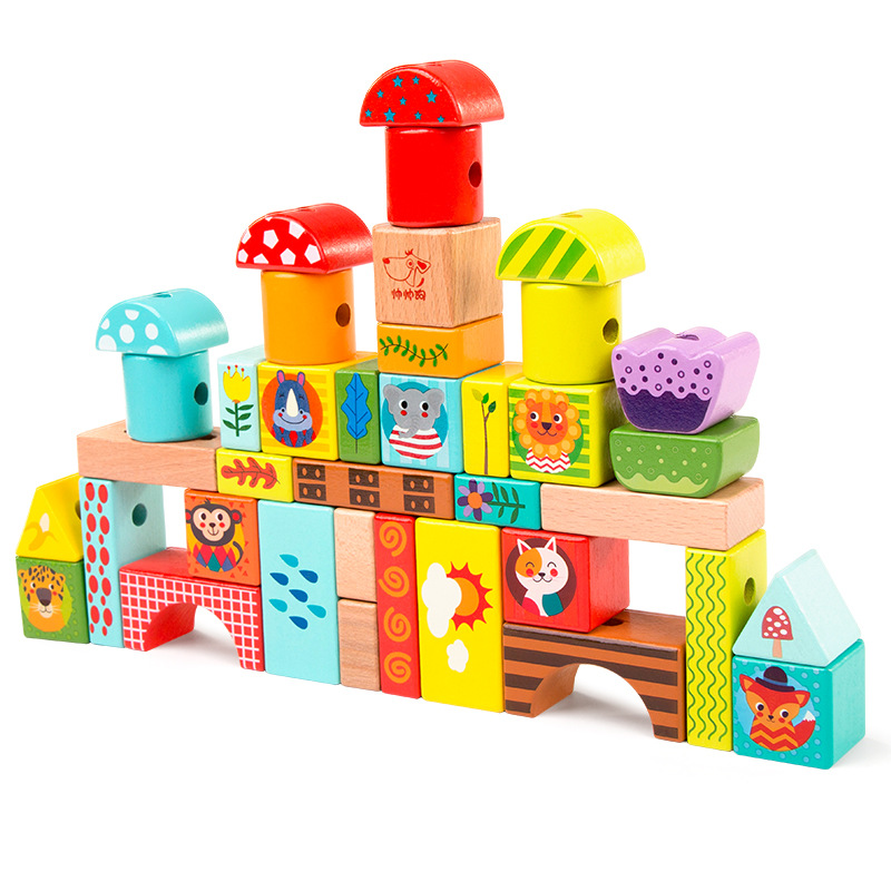 Wooden Young CHILDREN'S Early Childhood Intellectual Threading Bead Rope Baby Building Blocks Toy Forest Animal Wood Hand-Eye Co