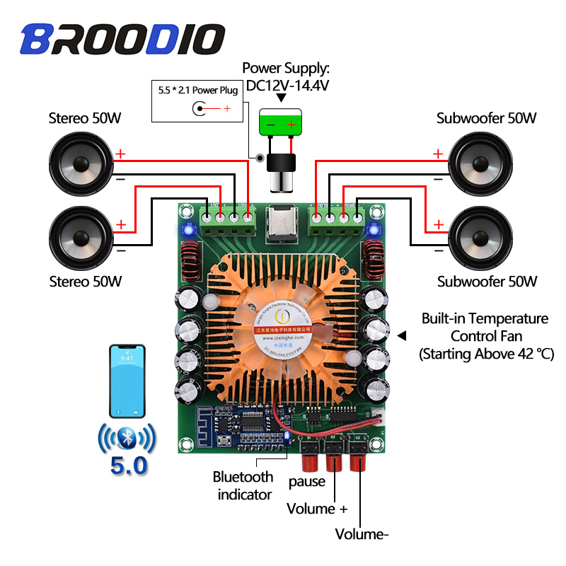 TDA7850 High Power Car Amplifier Board Analog Circuit BTL Class AB Four-Channel Stereo+Subwoofer 4*50W  Bluetooth 5.0 Amplifiers