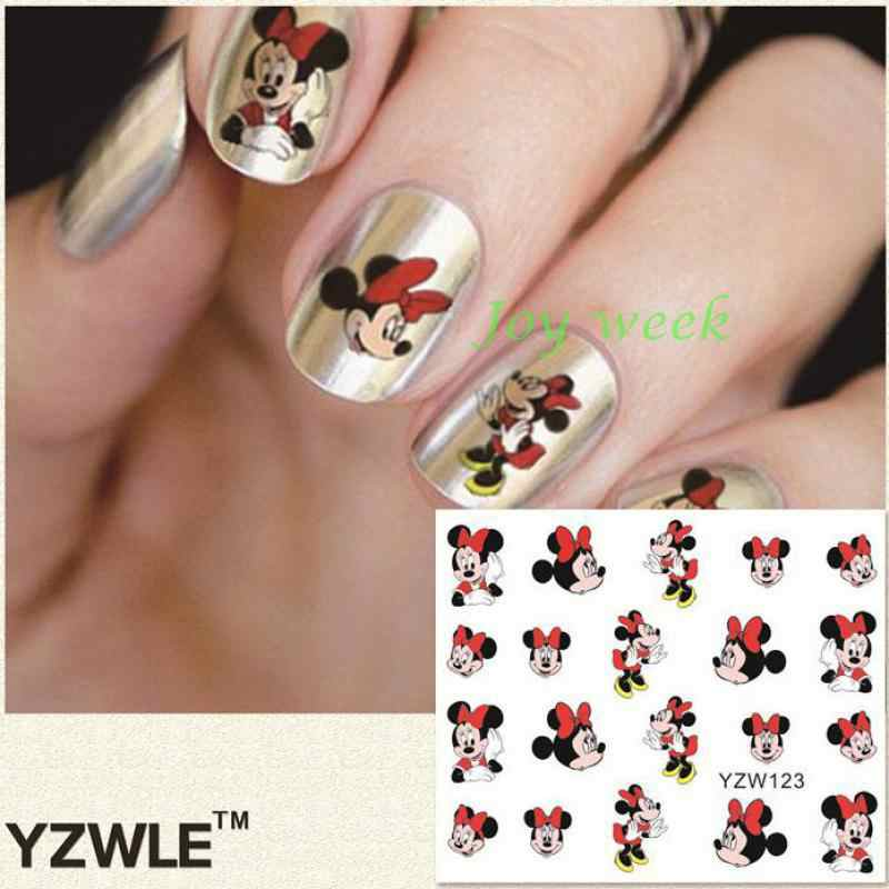 Water sticker for nails art decorations sliders mickey mouse adhesive nail design decals manicure lacquer foil accessoires