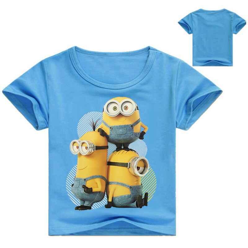 여름 아기 소년 소녀 o 목 목화 T 셔츠 어린이 탑 미니언 인쇄 귀여운 만화 티 어린이 짧은 소매 T 셔츠