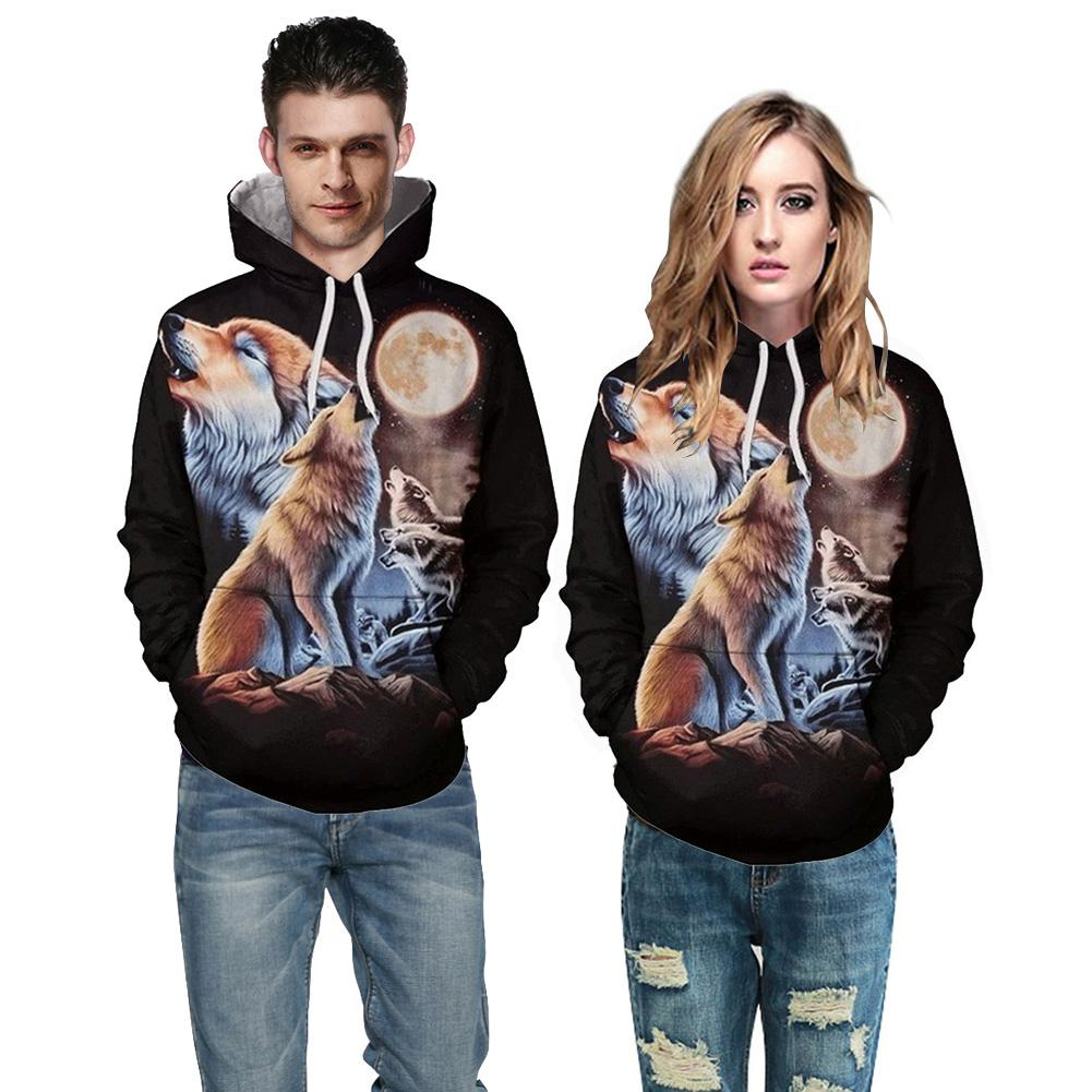 MISSKY Autumn Hoody Women Men <font><b>Sweatshirts</b></font> 3D Wolf Howl Moon Printing Hooded <font><b>Sweatshirts</b></font> <font><b>Baseball</b></font> Uniform for Female Male Lovers image