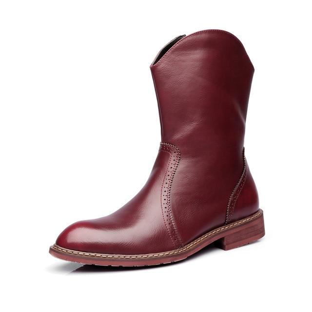 Mens di marca famosa del partito locale notturno del vestito in pelle di mucca brogue scarpe mid vitello stivali da cowboy chelsea di avvio di autunno della molla botas sapatos