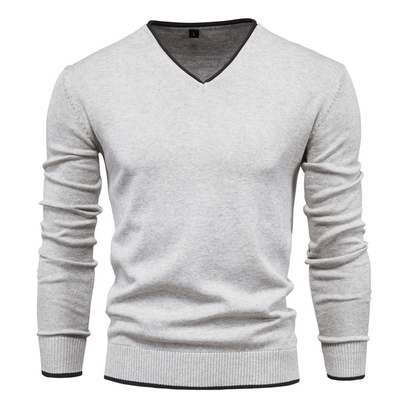 Men's Cotton Autumn Solid Color Long Sleeve Sweater Pullover Youth V-Neck Warm Sweater 2