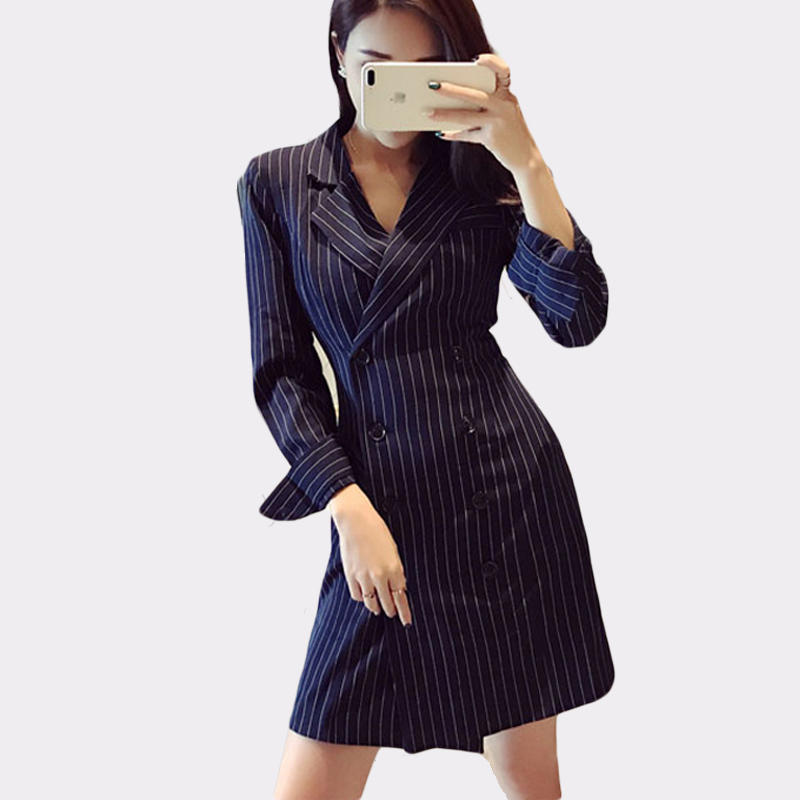 Drop Shipping Striped Office Lady Autumn Slim Blazer Dress Sexy Notched Trench Jacket Women Dress Elegant Work Suits Feminino