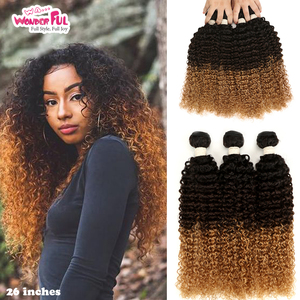 Ombre Kinky Curly Malaysian Hair Weave Bundles T1B/4/27/30/99J,Natural Color Two Tones Human Hair Ombre Blonde Hair 1Pc(China)