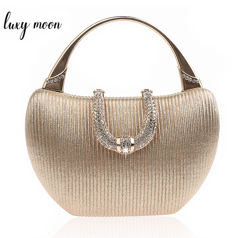 Mini Handbags For Women Champagne Elegant Shoulder Bag Diamond U Shape Clasp Clutch Bag Luxury Wedding Clutch Purse ZD1346